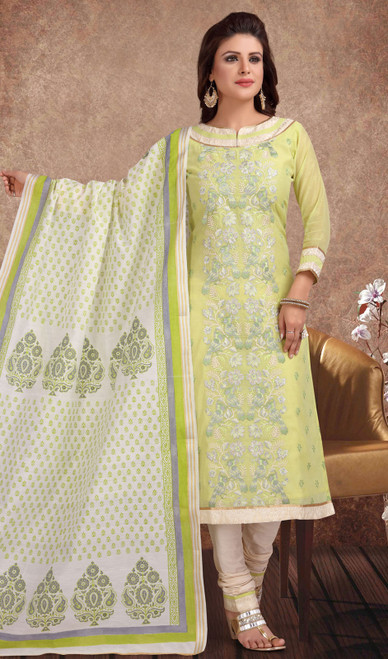 Chanderi Silk Embroidered Churidar Suit in Light Green and Off white Color