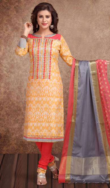 Chanderi Silk Embroidered Churidar Suit in Light Orange and  Tomato Red Color