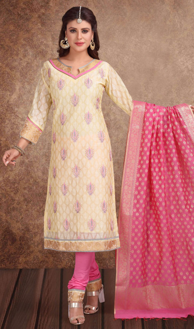 Chanderi Silk Embroidered Churidar Suit in Light Yellow and Pink Color