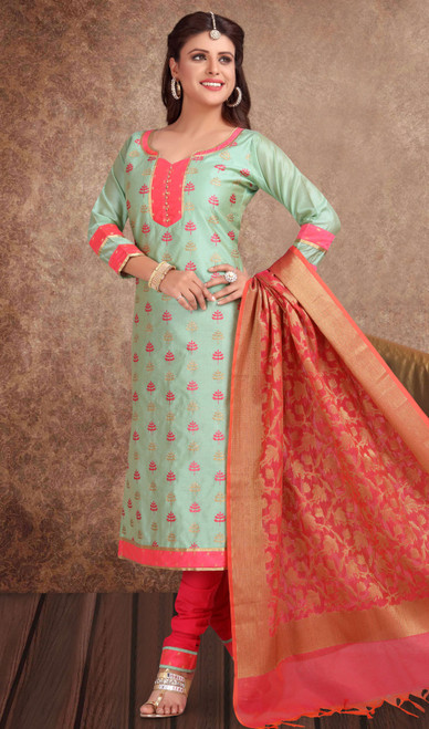 Chanderi Silk Embroidered Churidar Suit in Olive and Red Color