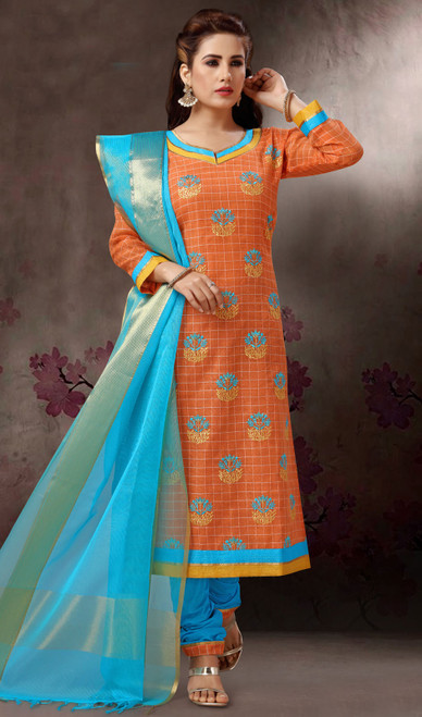 Chanderi Silk Embroidered Churidar Suit in Orange and Turquoise Color