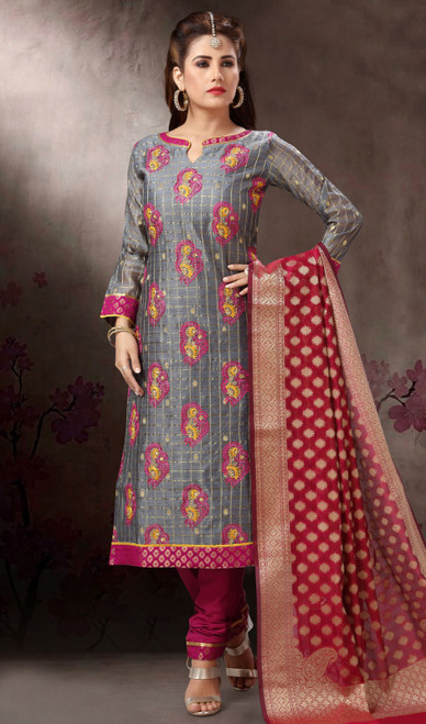 Chanderi Silk Embroidered Churidar Suit in Gray and Wine Color