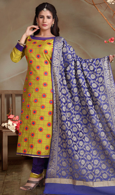 Chanderi Silk Embroidered Churidar Suit in Yellow and Royal Blue Color