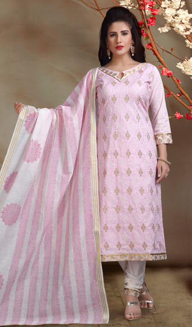 Chanderi Silk Embroidered Churidar Suit in Baby Pink and Off White Color