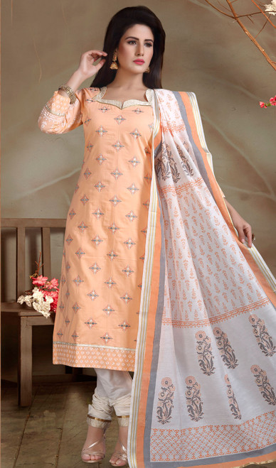 Chanderi Silk Embroidered Churidar Suit in Peach and Off White Color