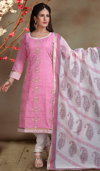 Chanderi Silk Embroidered Churidar Suit in Pink and White Color