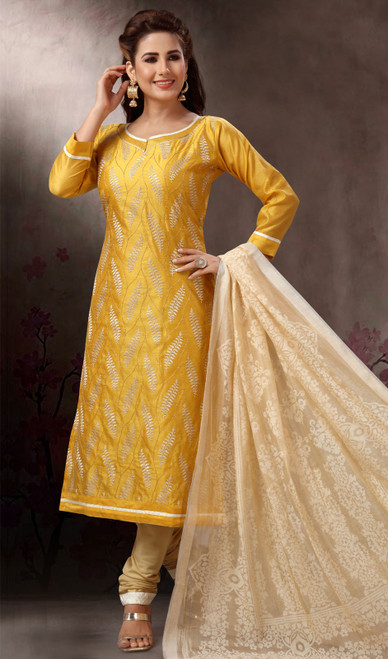 Chanderi Silk Embroidered Churidar Suit in Yellow and Cream Color