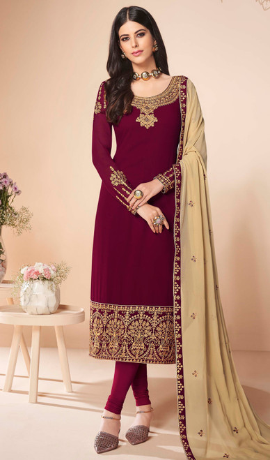 Maroon Color Georgette Embroidered Churidar Suit