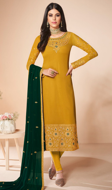 Mustard Color Georgette Embroidered Churidar Suit