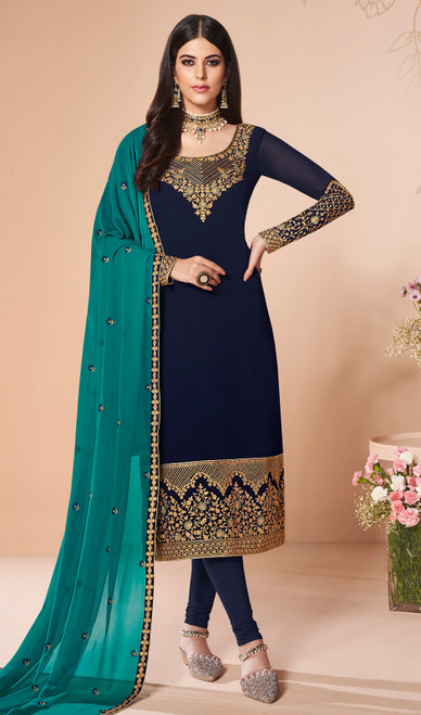 Georgette Embroidered Churidar Suit in Navy Blue Color