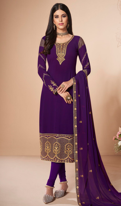 Purple Color Georgette Embroidered Churidar Suit