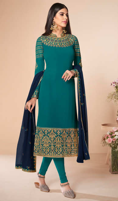 Sea Green Color Georgette Embroidered Churidar Suit