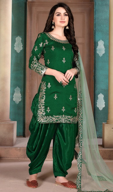 Mehendi Green Color Silk Embroidered Patiala Suit
