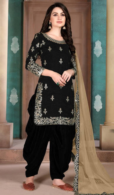Black Color Silk Embroidered Patiala Suit