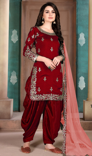 Maroon Color Silk Embroidered Patiala Suit
