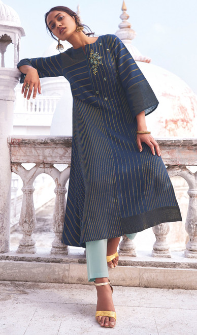 Linen Cotton Embroidered Kurti With Pant in Navy Blue Color