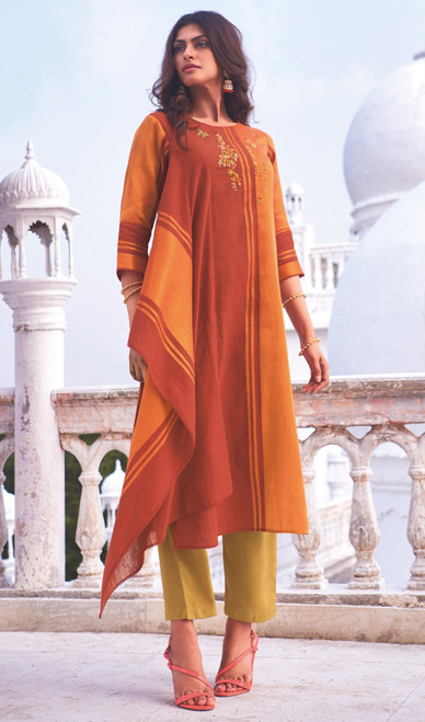 Linen Cotton Embroidered Kurti With Pant in Orange Color