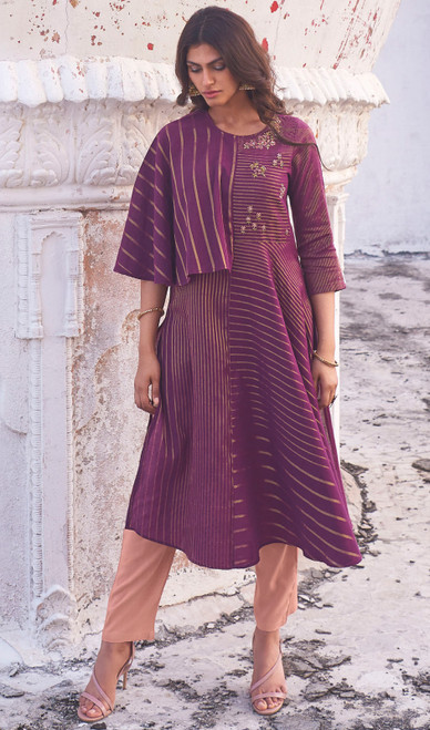 Linen Cotton Embroidered Kurti With Pant in Violet Color