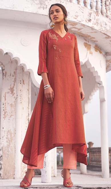 Linen Cotton Embroidered Kurti With Pant in Rust Red Color
