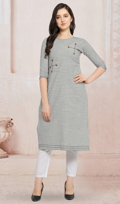 Cotton Light Gray Color Kurti