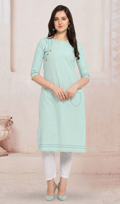 Cotton Light Blue Color Kurti