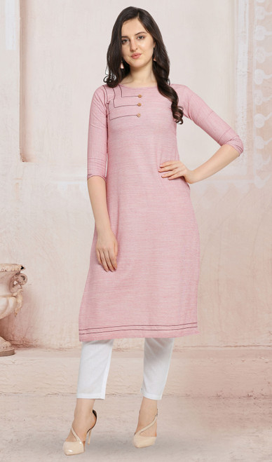 Cotton Baby Pink Color Kurti