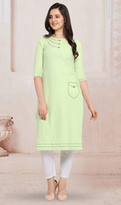 Cotton Light Yellow Color Kurti