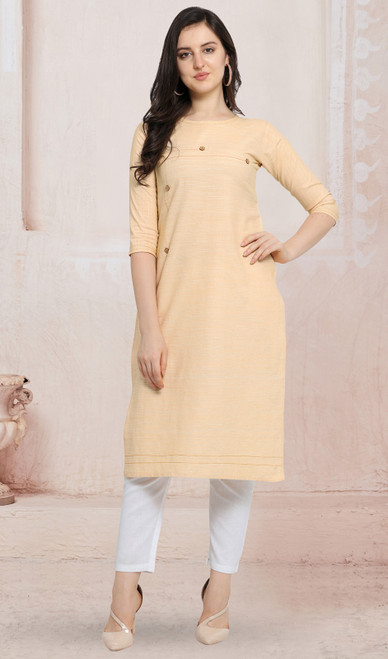 Cotton Cream Color Kurti