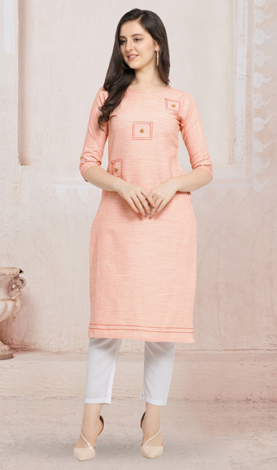 Cotton Light Peach Color Kurti