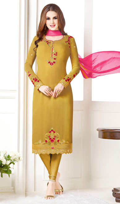Mustard Yellow Color Embroidered Georgette Churidar Suit