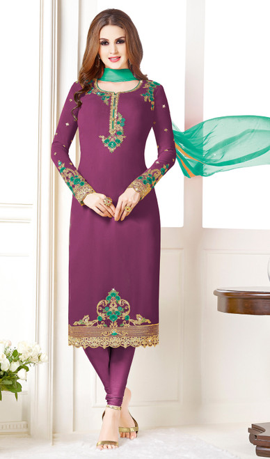 Purple Color Embroidered Georgette Churidar Suit