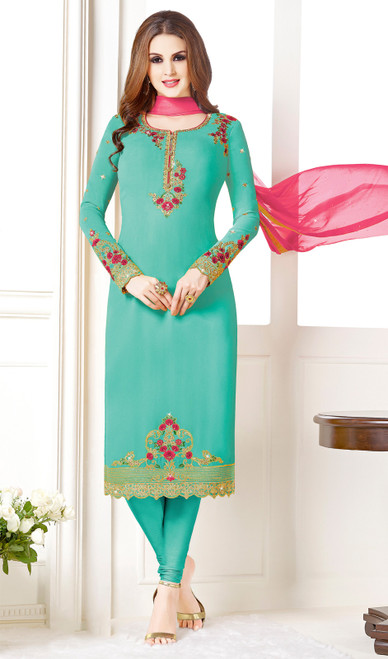Sky Blue Color Embroidered Georgette Churidar Suit