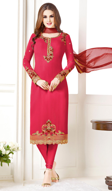 Dark Pink Color Embroidered Georgette Churidar Suit