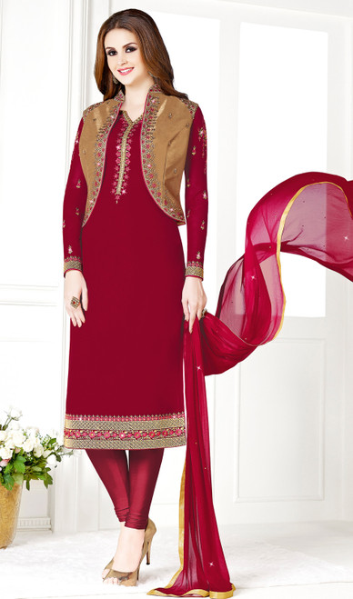 Maroon and Golden Color Georgette and Silk Embroidered Churidar Suit