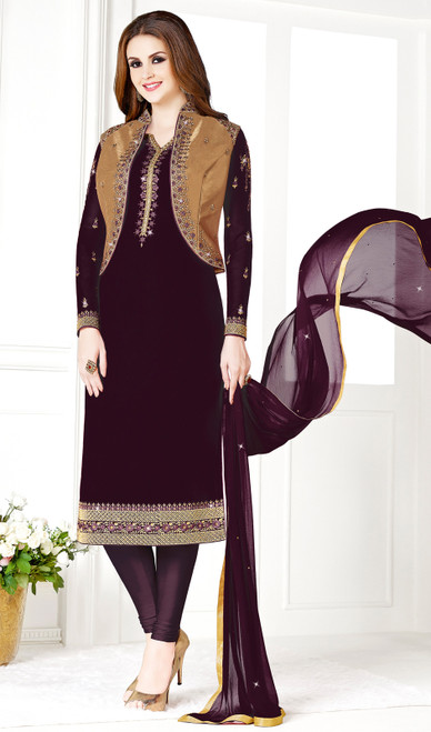 Wine and Golden Color Georgette and Silk Embroidered Churidar Suit