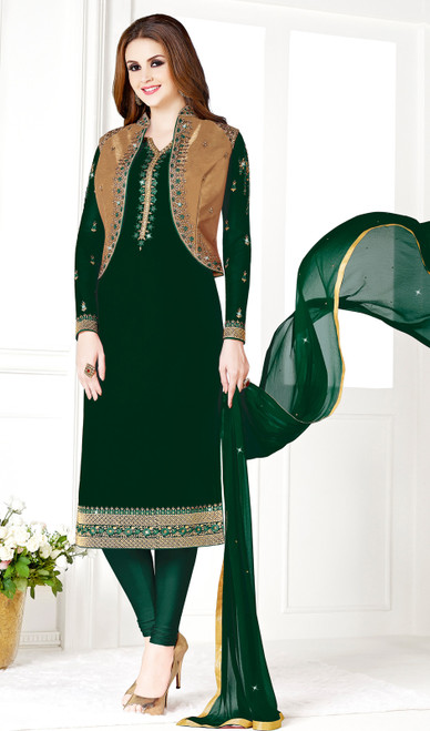 Bottle Green and Golden Color Georgette and Silk Embroidered Churidar Suit
