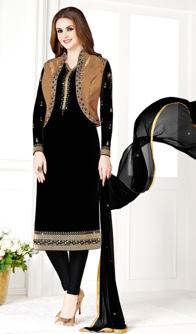 Black and Golden Color Georgette and Silk Embroidered Churidar Suit