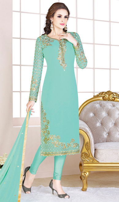 Embroidered Georgette Churidar Suit in Sky Blue Color