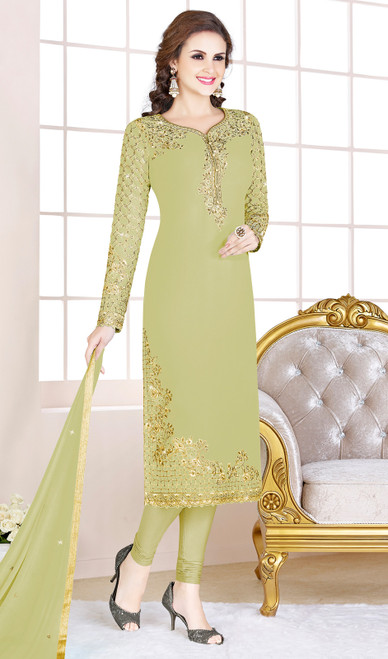 Pastel Green Color Embroidered Georgette Churidar Suit
