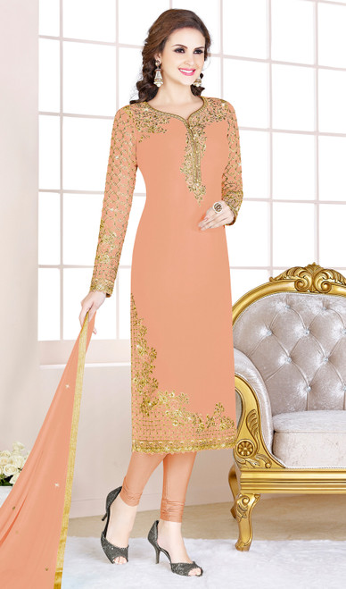 Peach Color Embroidered Georgette Churidar Suit