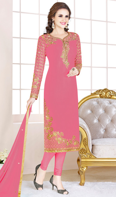 Pink Color Embroidered Georgette Churidar Suit