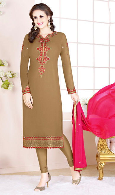 Brown Color Embroidered Georgette Churidar Suit
