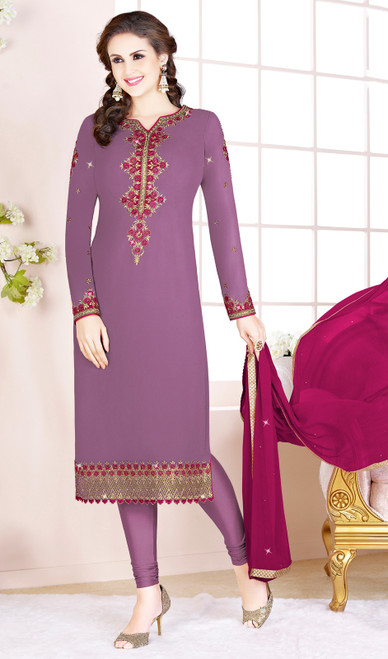 Embroidered Georgette Churidar Suit in Purple Color