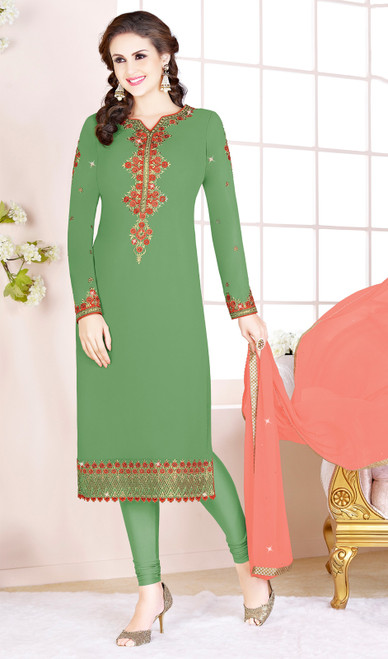 Green Color Embroidered Georgette Churidar Suit