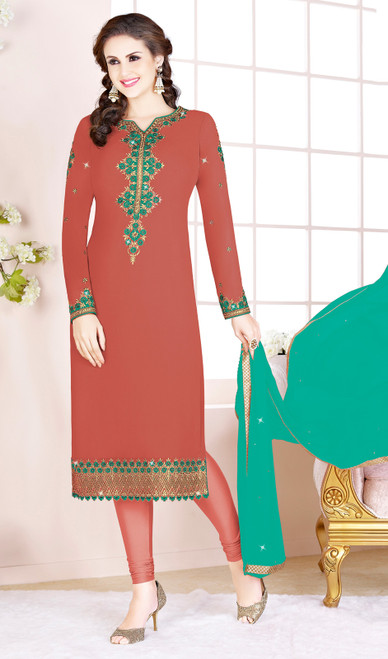 Rust Color Embroidered Georgette Churidar Suit