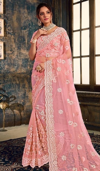 Baby Pink Color Designer Fancy Net Sari