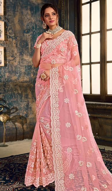 Baby Pink Color Designer Fancy Net Sari