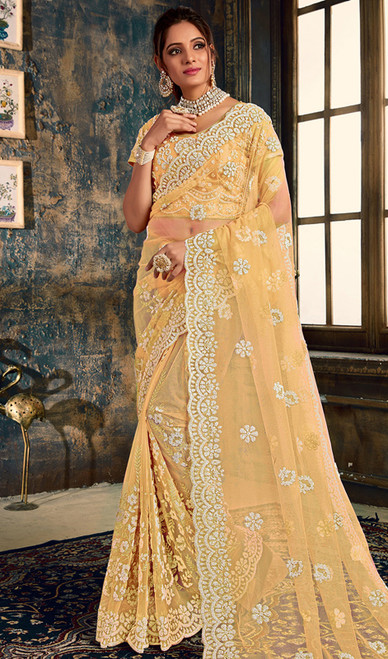 Cream Color Designer Fancy Net Sari