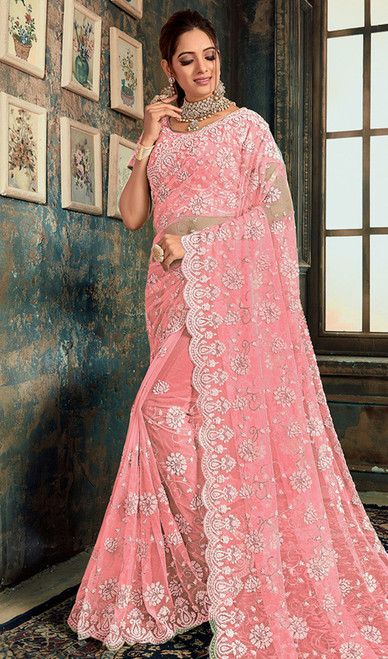Designer Baby Pink Color Fancy Net Sari
