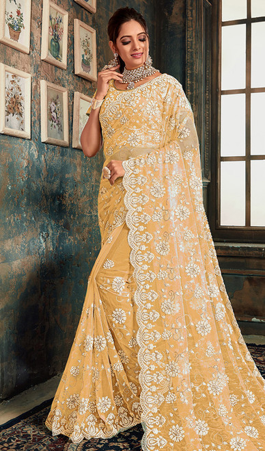 Light Yellow Color Designer Fancy Net Sari